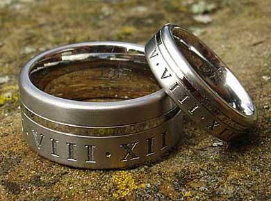 Personalised Roman Numeral Wedding Rings