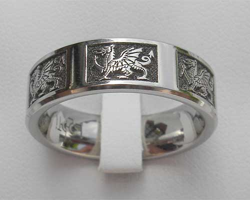 Welsh Dragon Ring In Titanium