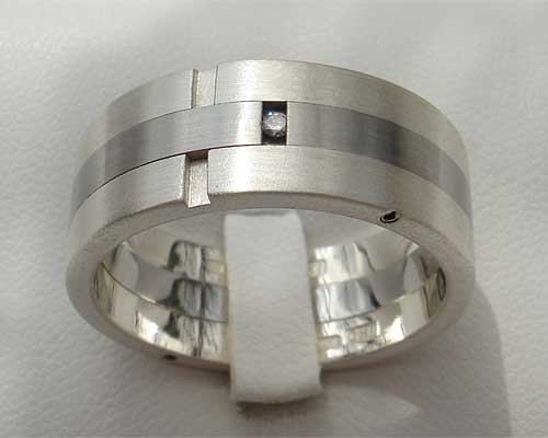 White diamond wedding ring in stainless steel