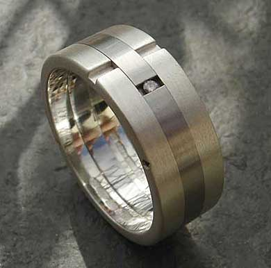 Diamond wedding ring in silver and steel