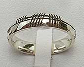Personalised white gold Ogham wedding ring for women