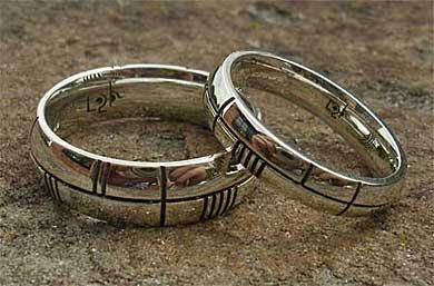 White gold Ogham rings