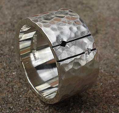 Silver black and white diamond wedding ring