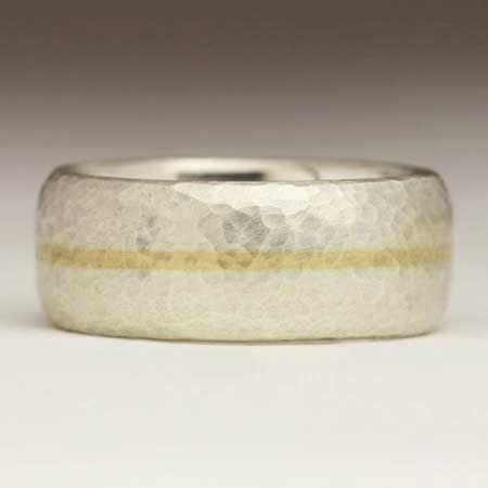 Wide hammered silver and gold wedding ring