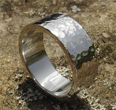 hammered stainless steel wedding ring lovehave in the uk