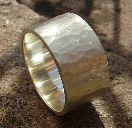 Hammered 9ct white gold wedding ring