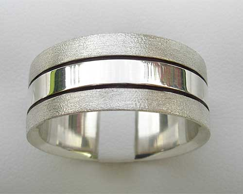 Twin Finish Wide Silver Ring