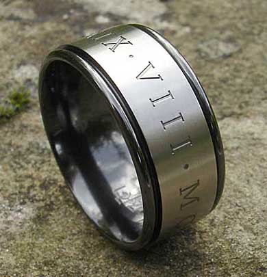 wide roman numerals wedding ring