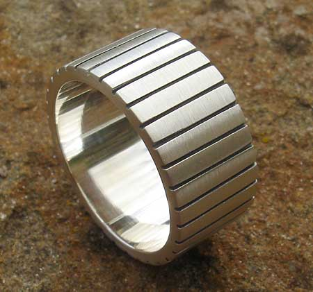 Wide silver ring for men