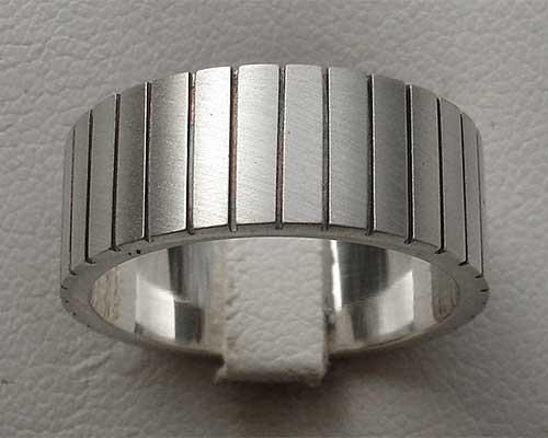 Wide silver wedding ring