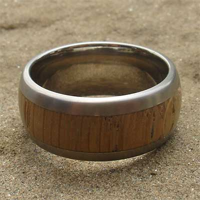 Wide titanium and wooden wedding ring