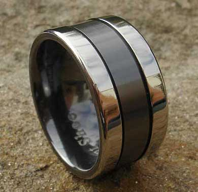 Wide two tone wedding ring