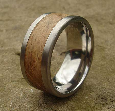 Titanium wooden wedding ring