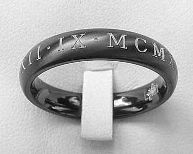 Womens black Roman numeral ring