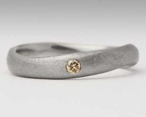 Brown diamond silver ring
