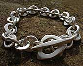 Women's contemporary silver chain bracelet