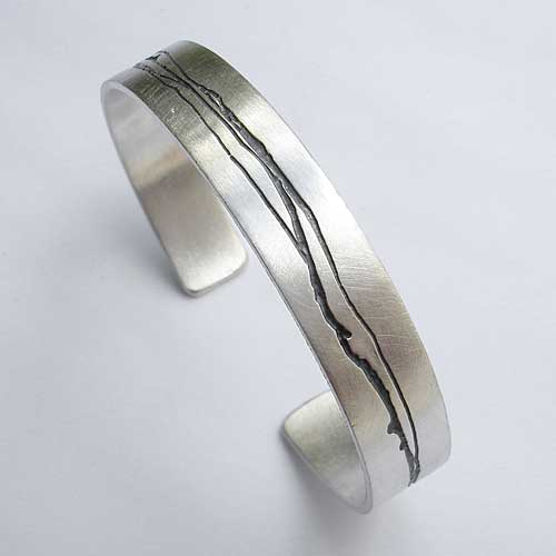 Womens contemporary silver cuff bracelet