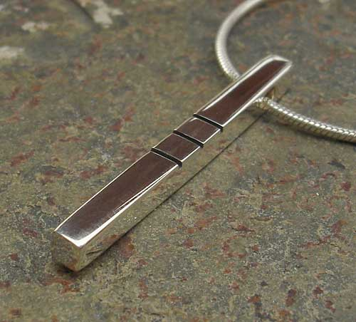 Womens Contemporary Polished Silver Pendant