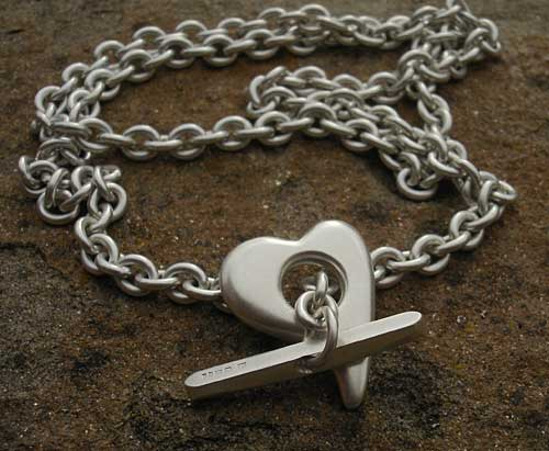 Womens designer silver heart necklace
