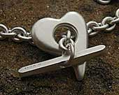 Women's designer silver heart necklace