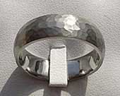Hammered wedding ring for men in titanium
