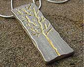 Gold etched handmade silver necklace