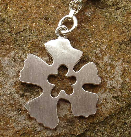 Womens handmade silver flower necklace