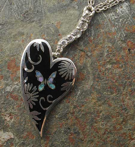 Women's handmade heart silver necklace