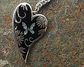 Womens handmade heart silver necklace