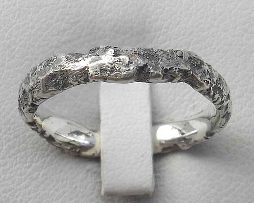 Unusually Heavy Textured Silver Ring