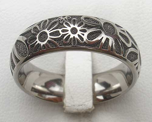 Womens Flower Design Titanium Ring