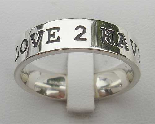 Womens Personalised Silver Ring