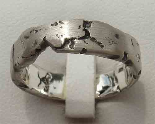 Womens Rocky Texture Silver Ring