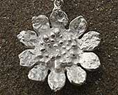 Women's silver designer sunflower necklace