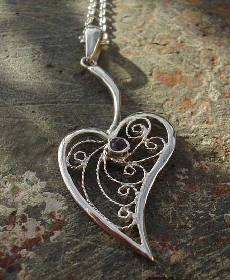 Womens Handmade Heart Necklace