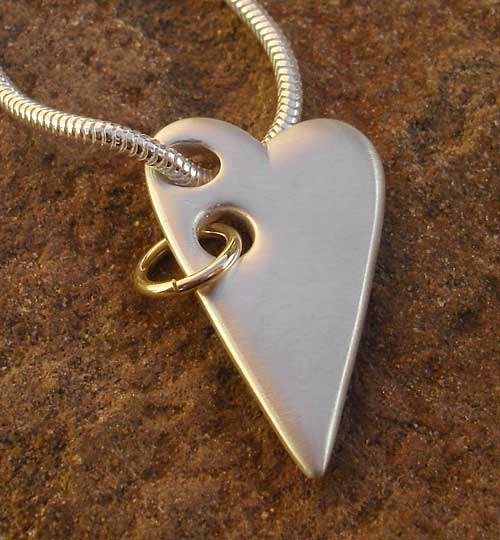 Womens Gold & Silver Heart Necklace