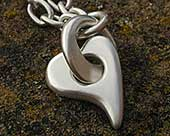 Womens sterling silver heart necklace