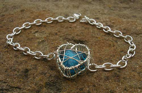 Womens unusual silver heart bracelet