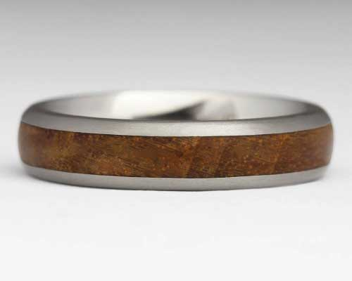 Womens wood inlay titanium ring