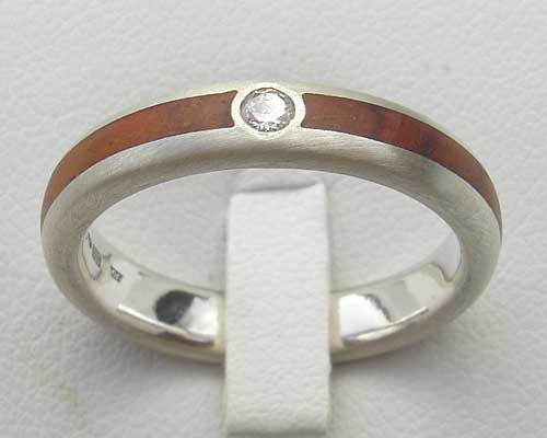 Wood Inlay Diamond Engagement Ring