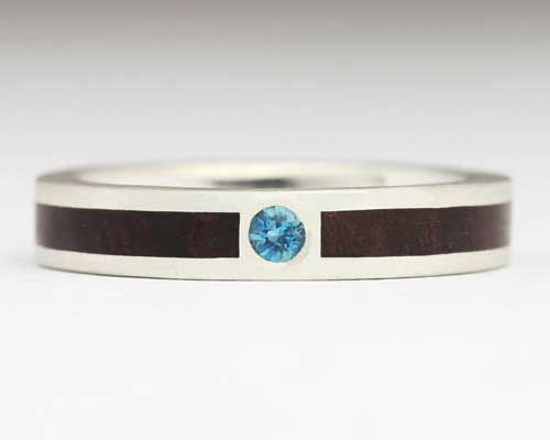 Wood Inlay Engagement Ring