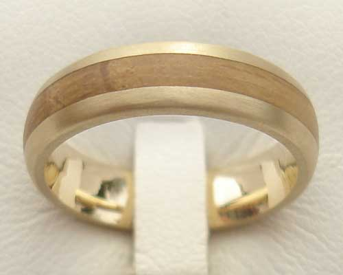 Wood Inlay Gold Wedding Ring