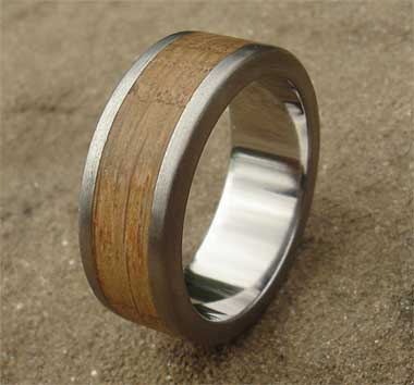 Size R Wooden Inlay Titanium Wedding Ring SALE