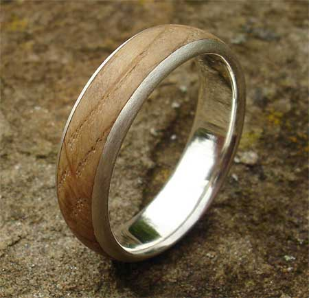 Wooden Inlay Wedding Ring SALE Size Q