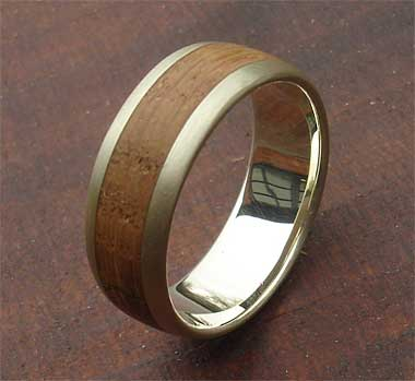 Wooden inlay gold ring