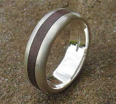 Wooden inlay silver wedding ring