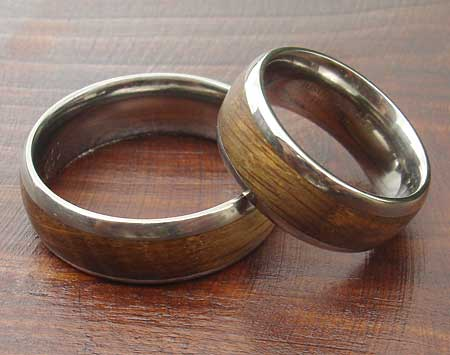 Wooden inlay silver wedding rings