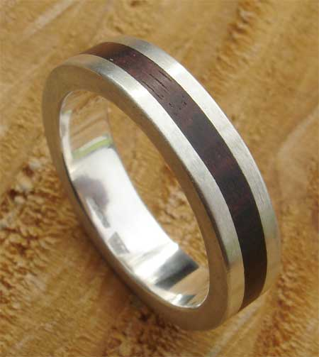 Wooden inlay silver ring