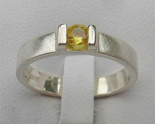Yellow Sapphire Contemporary Silver Engagement Ring